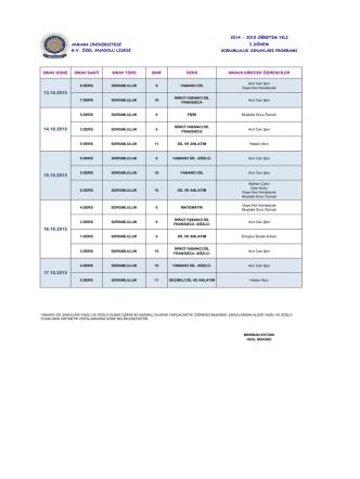2014 - 2015 öğretim yılı ankara üniversitesi ı.dönem gv özel anadolu