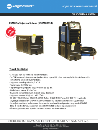 CS200 Su Soğutma Sistemi (K307000010)