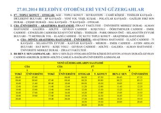 27.01.2014 BELEDİYE OTOBÜSLERİ YENİ GÜZERGAHLAR