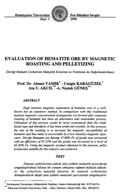 ev aluatıon of hematıte ore by magnetıc roastıng and pelletızıng
