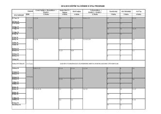 2014-2015 Donem 6 staj program