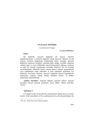 Anayasal Değişim - Ankara Üniversitesi Dergiler Veritabanı