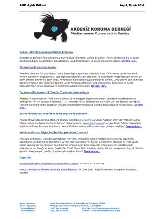 AKD Aylık Bülteni Sayı:1, Ocak 2014
