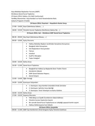 Asya Belediye Başkanları Forumu (AMF) Dördüncü - UCLG-MEWA