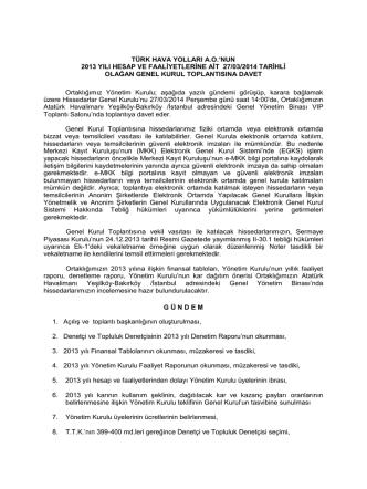 2014 Olağan Genel Kurul İlanı 27.03.2014
