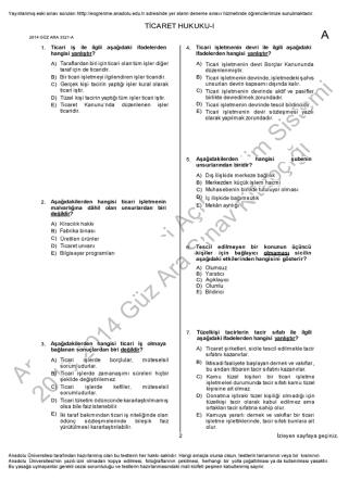 AÖF Ticaret Hukuku 1 | 2014 Ara Sınav İNDİR