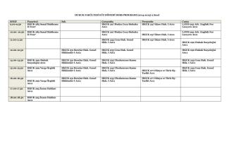2014-2015 hukuk fakültesi ders programı (2. sınıf) (16.09.2014)