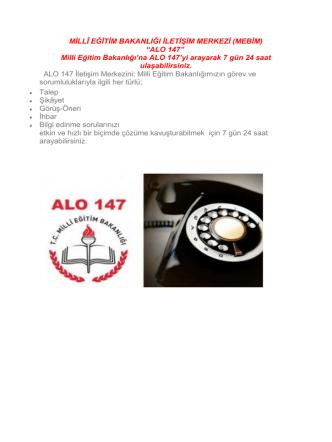 ALO 147 - Milli Eğitim Bakanlığı