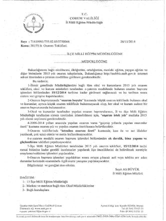 . rc. çonııüi VALİLİĞİ :tı üııııı Eğıüm Müdürlüğü