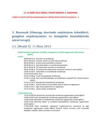 3. Basamak - Nöral Terapi Kursu, nöralterapi sertifika programı