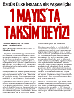 Emek ve Özgürlük Cephesinin 1 Mayıs Bildirisini Okumak İçin Burayı