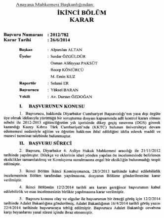 Anayasa Mahkemesinin 26/6/2014 Tarihli ve 2012