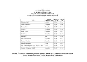 Anadolu Üniversitesi Açıköğretim Fakültesi Dersleri 1 Kasım 2014