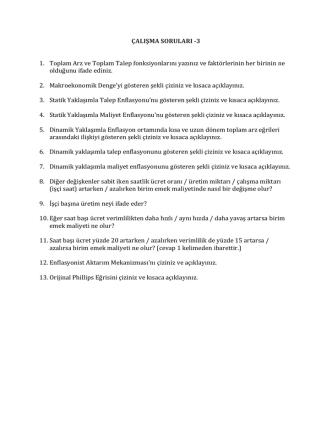 ÇALIŞMA SORULARI -3 1. Toplam Arz ve Toplam Talep