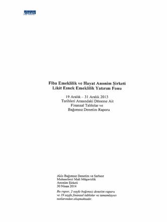 Bağımsız Denetim Raporu - Fiba Emeklilik ve Hayat A.Ş.