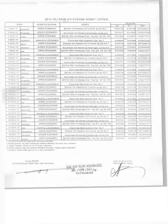 2014 yılı ekim ayı eczane nöbet listesi