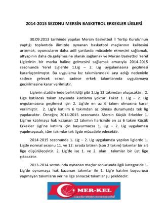 2014-2015 SEZONU MERSİN BASKETBOL ERKEKLER LİGLERİ