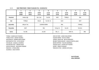 5-B Sınıfı Ders Programı
