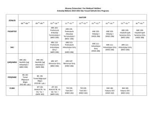2014-2015 Güz Yarıyılı Ders Programı için