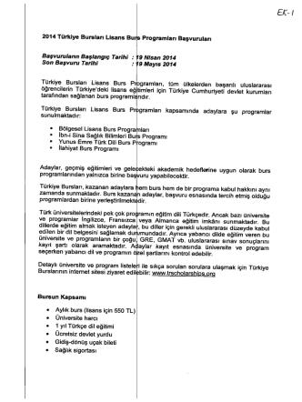 2014 Türkiye Bursları Lisans Burs Programları Başvuruları