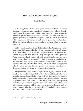 Adil Yargılama Psikolojisi