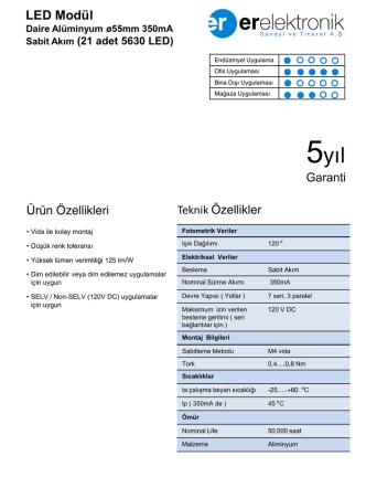Daire Alüminyum ø55mm 350mA Sabit Akım (21 adet