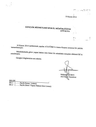 10 Kasım žoı4 - Antalya Gençlik ve Spor İl Müdürlüğü