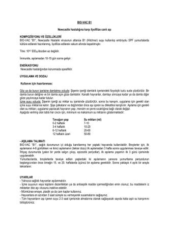 BIO-VAC B1 Newcastle hastalığına karşı liyofilize canlı