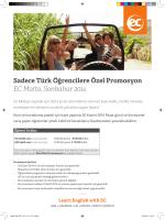 Sadece Türk Öğrencilere Özel Promosyon EC Malta