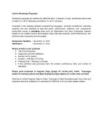 Call for Workshop Proposals Workshop proposals are