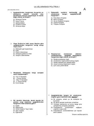 AÖF Uluslararası Politika 1 | 2013 Ara Sınav İNDİR