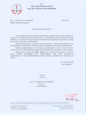 03/07/2014 tarih ve 2796905 sayılı Modüler Programlar onayı