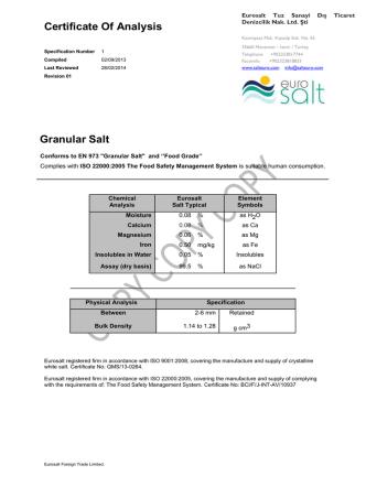 Certificate Of Analysis Granular Salt