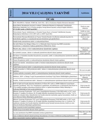 2014 yılı çalışma takvimi - Strateji Geliştirme Daire Başkanlığı