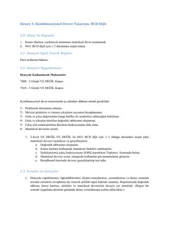 Deney 3: Kombinasyonel Devre Tasarımı: BCD Dijit