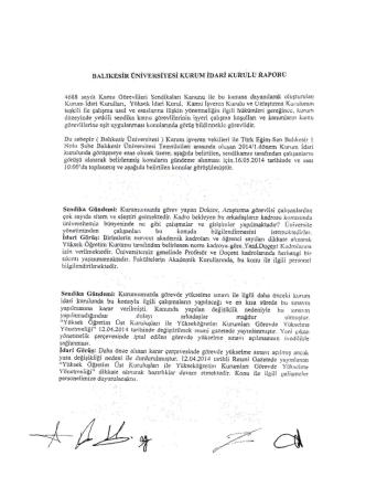 BALIKESİR ÜNİVERSİTESİ KURUM İDARİ - Türk Eğitim-Sen