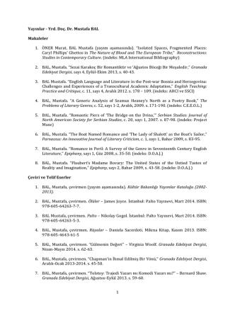 1 Yayınlar - Yrd. Doç. Dr. Mustafa BAL Makaleler 1. ÖNER Murat