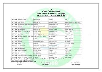 2014 Aralik Ayı Yemek Listesi