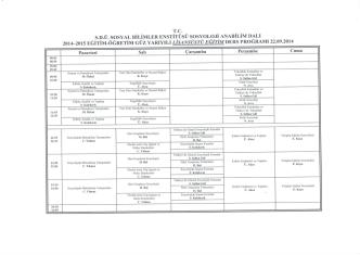 2014-2015 Egitim Öğretim Güz Yarıyılı Sosyoloji Doktora Ders