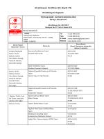 Akreditasyon Sertifikası Eki (Sayfa 1/9) Akreditasyon Kapsamı