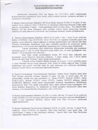 2014 YILI- İmar Komisyon Raporu