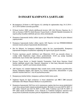 d-smart kampanya şartları