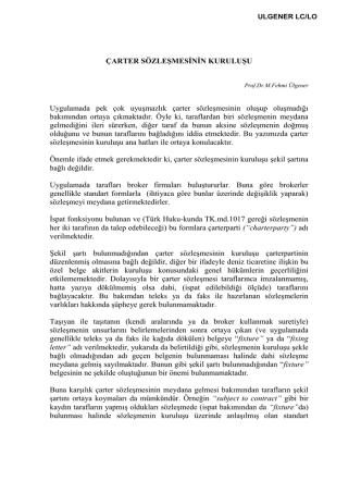 10.Çarter Sözleşmesinin Kuruluşu