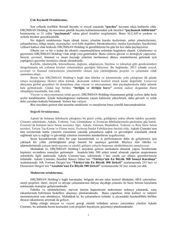 2013 yılı yönetim kurulu faaliyet raporu