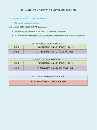 2013-2014 EĞİTİM ÖĞRETİM YILI ATL YAZ STAJI TARİHLERİ 1