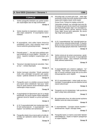 6. Sınıf BDS Çözümleri / Deneme 1 1366 TÜRKÇE