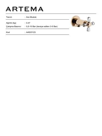 0,5-10 Bar (tavsiye edilen 3-5 Bar) Kod : A4523123