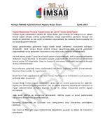 Türkiye İMSAD Aylık Ekonomi Raporu Basın Özeti Eylül 2014