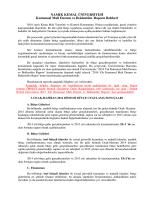 2014 Yılı Kurumsal Mali Durum ve Beklentiler Raporu Hazırlama