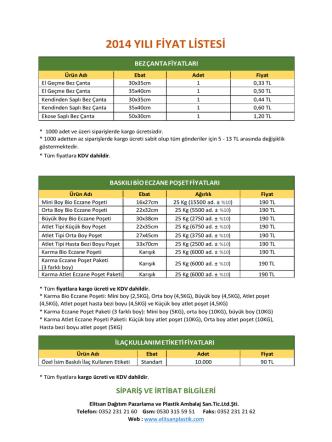 2014 yılı fiyat listesi